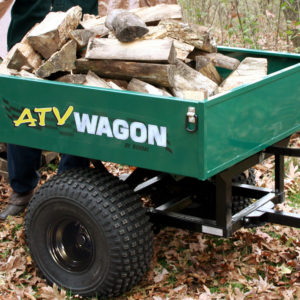 ATV Wagon 800UT-X single axle trailer made to tow behind your ATV green full of wood