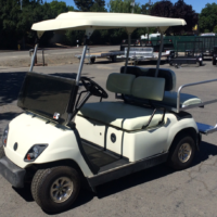 2003 Yamaha 4 seater electric cart for sale, rear facing seat cart, drivers side front view,Yamaha G22 with rear facing seat,4 seater electric cart
