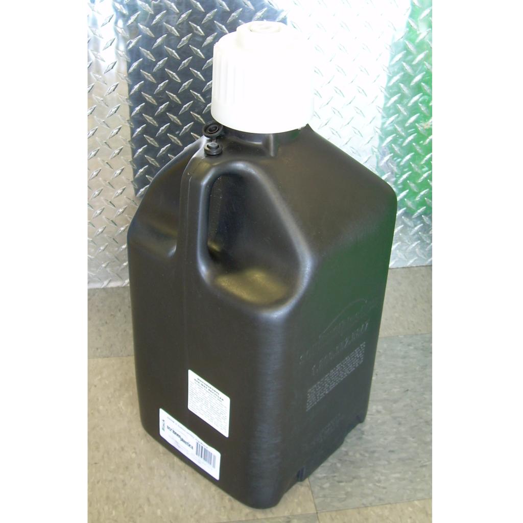 Black 5 gallon utility jug,5 gallon plastic fuel jug,Scribner 5 gallon black utility jug,fuel jug,motorcycle fuel jug