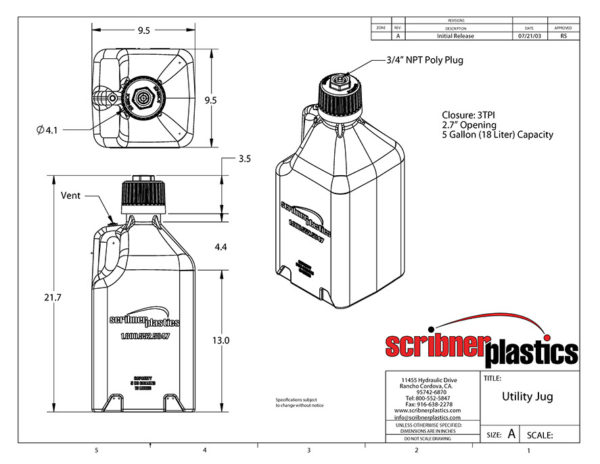 Scribner 2000 Series Fuel Jug CAD drawing