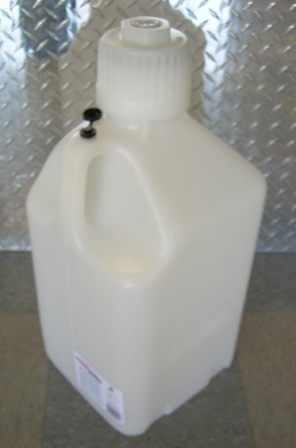 White 5 gallon fuel jug,Scribner Plastics White 5 gallon fuel jug,white 5 gallon utility jug