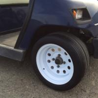 Flat Free golf cart tires ribbed tread pattern 4 on 4 bolt pattern fits standard golf cart
