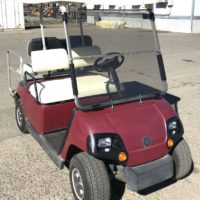 Used 2004 Yamaha 4-seater electric golf cart front passenger side view