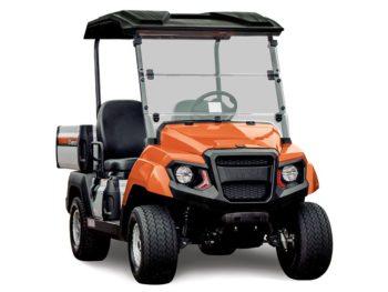 Yamaha UMAX2 gas utility vehicle fire orange studio shot