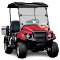 Yamaha UMAX2 AC electric utility cart in Jasper red studio shot