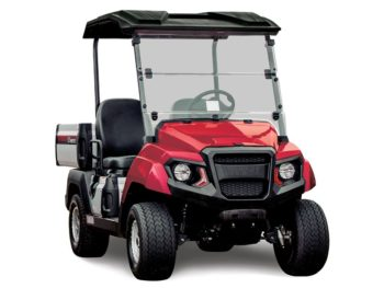 Yamaha UMAX2 AC electric utility cart in Jasper red studio shot