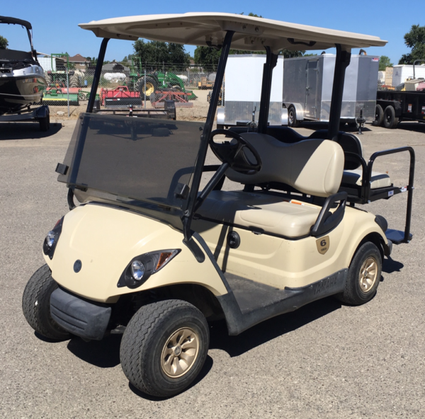 2015 Yamaha 4-seater elec cart for sale has rear flip seat driver side front view