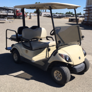 2015 Yamaha 4-seater elec cart for sale has rear flip seat pass side front view