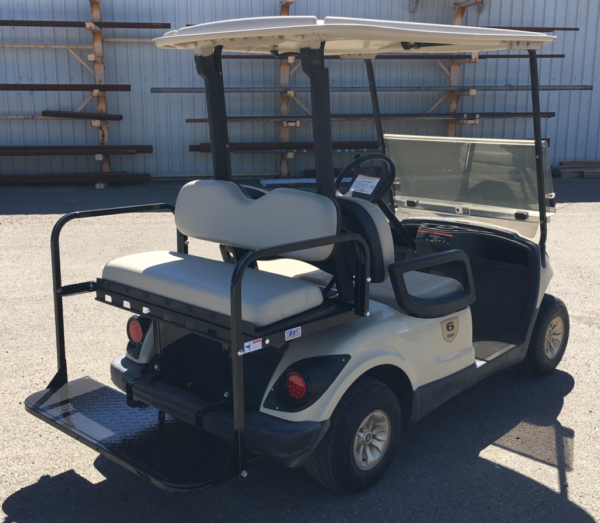 2015 Yamaha 4-seater elec cart for sale has rear flip seat pass side rear view