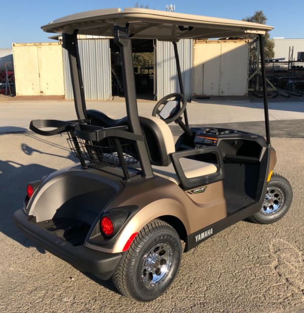 2020 Yamaha Drive2 electric golf cart in Mica Matte color passenger side rear view
