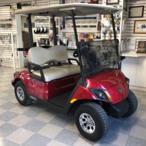 Yamaha elec golf cart 2020 AC electric jasper red PTV cart front passenger side view
